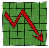 Gráfico da seta que vai para baixo Foto de Stock