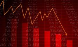 Gráfico da seta que vai para baixo em um fundo vermelho Fotos de Stock