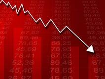 Gráfico da seta que vai para baixo em um fundo vermelho Imagens de Stock Royalty Free