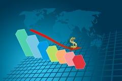 Gráfico da seta que vai para baixo no fundo do resultado do dólar Imagens de Stock Royalty Free