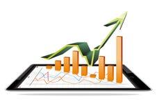 gráfico da tabuleta e de barra Fotos de Stock Royalty Free
