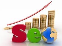 Gráfico das moedas com seta e texto 'SEO', com o globo em vez da letra o Fotografia de Stock Royalty Free