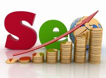 Gráfico das moedas com seta e texto 'SEO', com o globo em vez da letra o Imagens de Stock Royalty Free