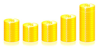 Gráfico das moedas de ouro Fotos de Stock Royalty Free