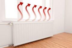 Gráfico de ascensão da seta no radiador Fotos de Stock