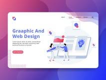 Gráfico de aterrizaje y diseño web de la página stock de ilustración