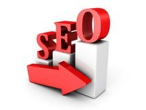 Gráfico de aumentação com conceito da seta SEO Imagens de Stock Royalty Free