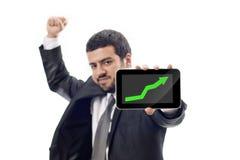 Gráfico de aumentação das mostras felizes do homem de negócio Imagem de Stock