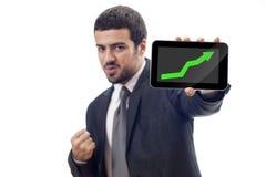 Gráfico de aumentação das mostras felizes do homem de negócio Imagem de Stock Royalty Free