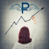 Gráfico de aumentação do rublo Imagem de Stock