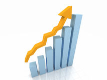 gráfico de barra 3D w/Arrow ilustração stock