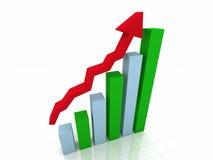 gráfico de barra 3D w/Arrow Imagens de Stock Royalty Free