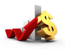 Gráfico de barra acertado del dólar del negocio con crecer la flecha Imagen de archivo
