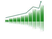 Gráfico de barra con la flecha del crecimiento Foto de archivo