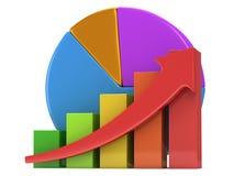 Gráfico de barra con la flecha y el gráfico de sectores rojos Fotos de archivo libres de regalías