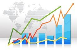 Gráfico de barra da finança com setas Fotografia de Stock Royalty Free