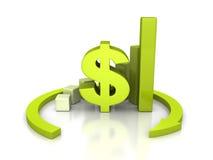Gráfico de barra da moeda do dólar com seta redonda Imagens de Stock