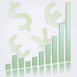 Gráfico de barra de ascensão com símbolos de moeda Fotografia de Stock