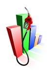 Gráfico de barra de preços de combustível com o bocal da bomba de gás Imagem de Stock
