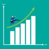 Gráfico de barra de Running On Growth del hombre de negocios Imágenes de archivo libres de regalías