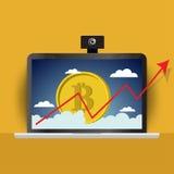 Gráfico de barra del gráfico de Bitcoin en icono del teléfono, gráfico cada vez mayor del bitcoin en smartphone o icono del teléf Imagen de archivo libre de regalías
