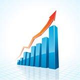 gráfico de barra del crecimiento del asunto 3d Foto de archivo libre de regalías