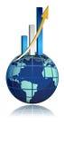 gráfico de barra del crecimiento del asunto global ilustración del vector