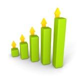 Gráfico de barra del negocio con el levantamiento encima de flechas de los succes Foto de archivo libre de regalías
