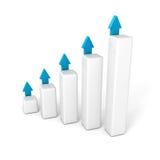Gráfico de barra del negocio con el levantamiento encima de flechas de los succes Fotos de archivo libres de regalías