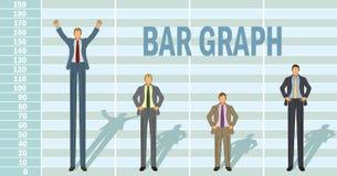 Gráfico de barra do homem de negócio Foto de Stock