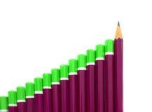 Gráfico de barra do lápis fotografia de stock