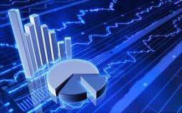 Gráfico de barra do mercado de valores de acção e carta de torta Fotos de Stock