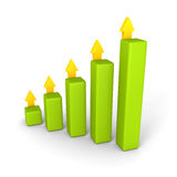 Gráfico de barra do negócio com aumentar setas dos succes Foto de Stock Royalty Free