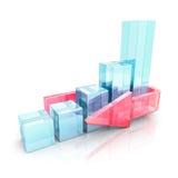 Gráfico de barra do sucesso comercial com a seta de vidro vermelha Imagens de Stock Royalty Free