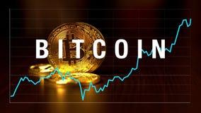 Gráfico de citas de bitcoins en el intercambio ilustración del vector