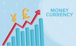 Gráfico de divisas de la información de mercado con 3d la flecha, símbolo de la libra, símbolo de los yenes Concepto del negocio  Fotografía de archivo
