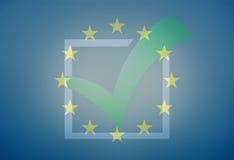 Gráfico de Europa Tick Check Design Blue Foto de archivo