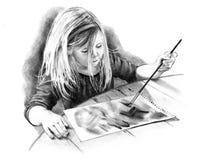 Gráfico de lápiz de la pequeña muchacha del artista Fotos de archivo
