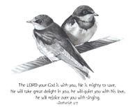 Gráfico de lápiz de pájaros con verso de la biblia Fotos de archivo libres de regalías