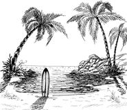 Gráfico de lápiz del paisaje marino Imagenes de archivo