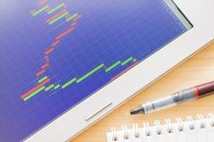 Gráfico de la acción o de las divisas o carta de la palmatoria en la pantalla azul y la pluma Imágenes de archivo libres de regalías