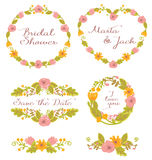 Gráfico de la boda fijado: marcos, guirnalda y flores Fotos de archivo libres de regalías