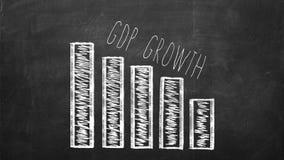 Gráfico de la caída del GDP en una pizarra negra Imagenes de archivo