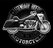 Gráfico de la camiseta de la motocicleta del vintage Illu realista arriba detallado Fotografía de archivo libre de regalías