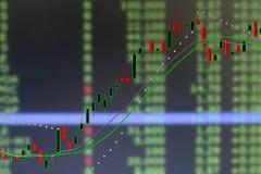 Gráfico de la carta del mercado de la vela de la acción de la inversión Foto de archivo libre de regalías