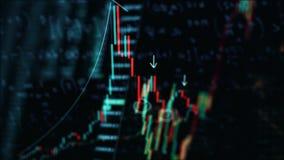 Gráfico de la carta electrónica de las fluctuaciones en la pantalla, las estadísticas del mercado de acción de los índices animac almacen de video