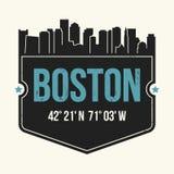 Gráfico de la ciudad de Boston, diseño de la camiseta, impresión de la camiseta, tipografía Foto de archivo libre de regalías