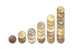Gráfico de la columna hecho del dinero Fotografía de archivo libre de regalías