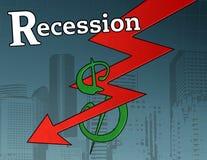 Gráfico de la crisis de la recesión Imagen de archivo libre de regalías