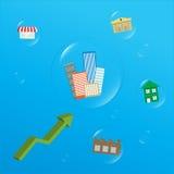 Gráfico de la flecha que aumenta las propiedades inmobiliarias Foto de archivo libre de regalías